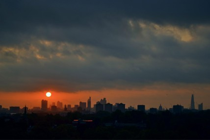Sunrise over London, view from Primrose Hill