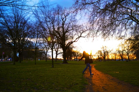 Hester embracing the sunset at the Common